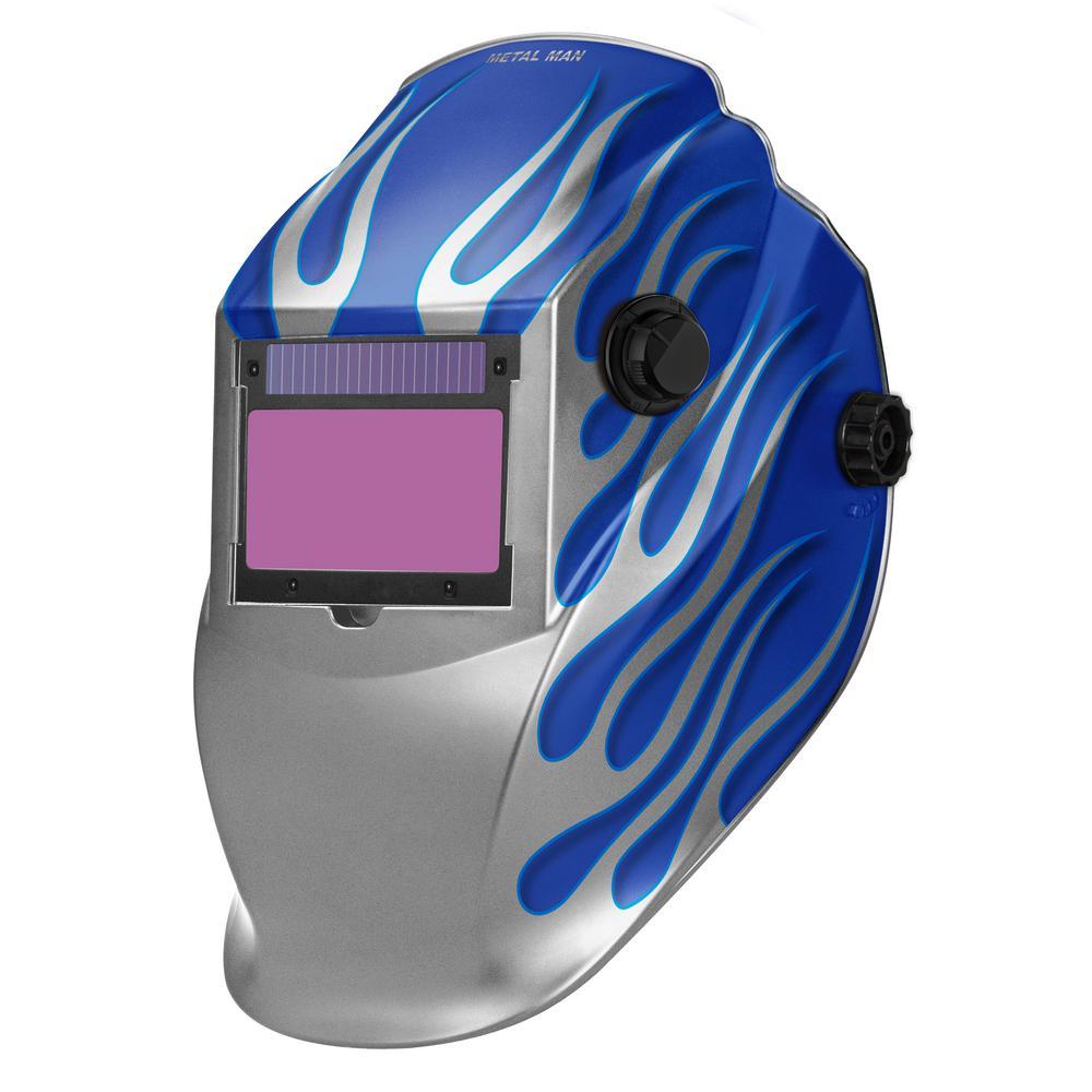 ASB8735SGC-R Big Window 8735 Auto Darkening Welding Helmet - Blue/Silver Flame