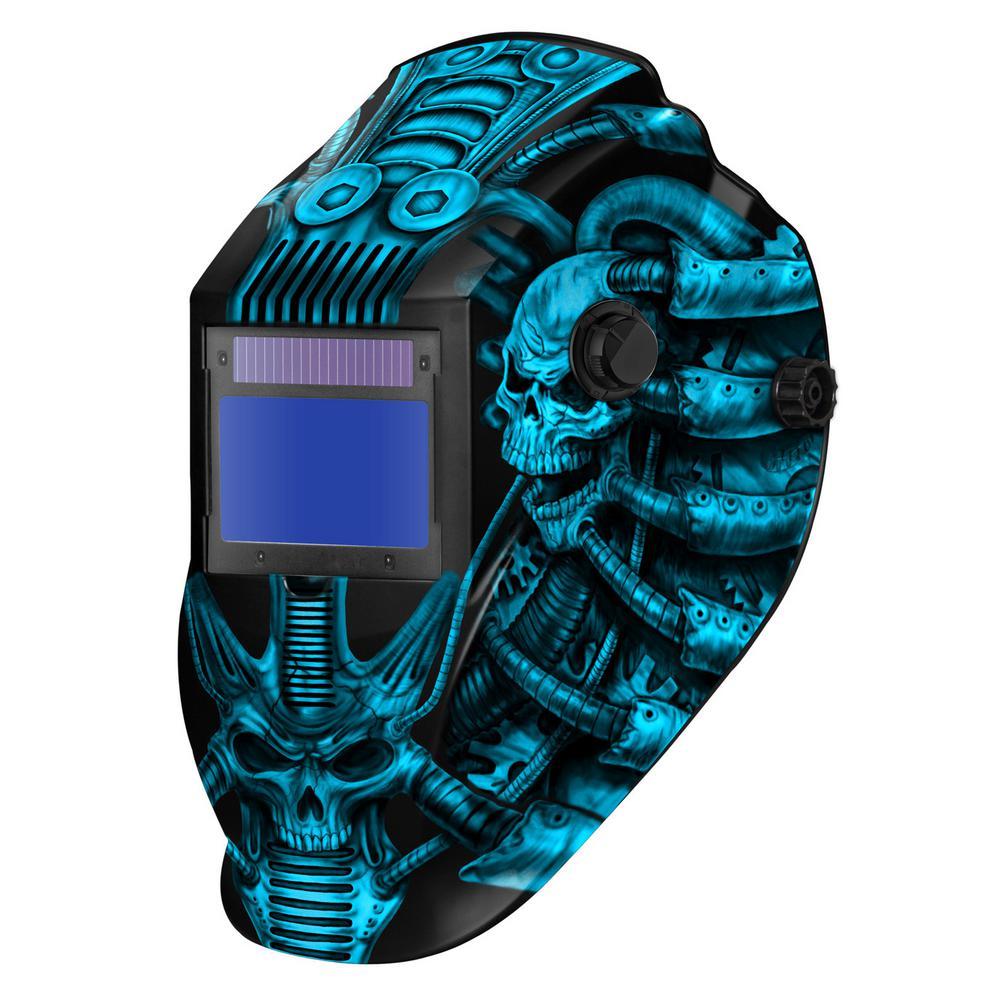ATECB8735SGC-R Big Window 8735 Auto Darkening Welding Helmet - Gray Techo Skull