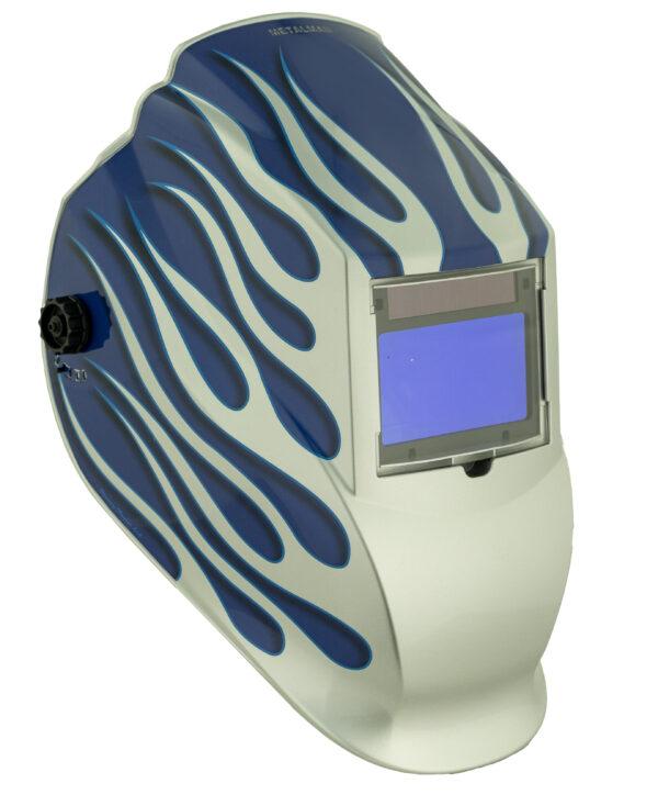ASB8735SGC Big Window 8735 Auto Darkening Welding Helmet - Blue/Silver Flame