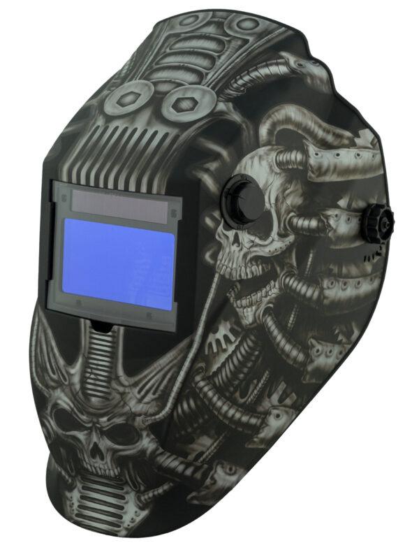 ATEC8735SGC-R Big Window 8735 Auto Darkening Welding Helmet - Gray Techo Skull
