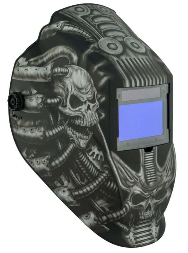 ATEC8735SGC-R Big Window 8735 Auto Darkening Welding Helmet - Gray Techo Skull